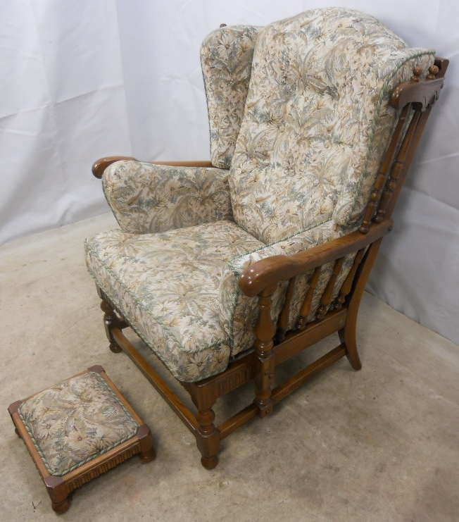 Carved Elm Upholstered Wing Armchair Old Colonial Range by  : carved elm upholstered wing armchair old colonial range by ercol 2 1259 p from www.harrisonantiquefurniture.co.uk size 652 x 741 jpeg 200kB
